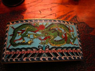 chinese cloisonne  large dragon buckle very good cond 19th century 3.5inches