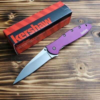 Kershaw 1660PUR Leek Purple Handle 14C28N Assisted Open Linerlock Folding Knife