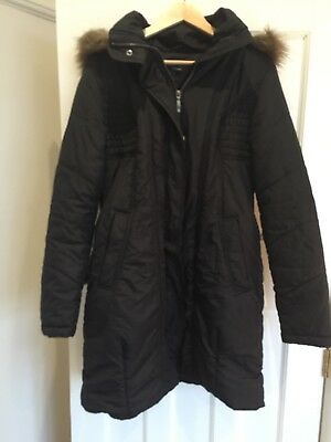 Noppies Maternity Coat -Padded. Black. Fur Trimmed Good. Size M. Warm & comfy