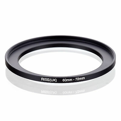 Camera 60mm Lens to 72mm Accessory Step Up Adapter Ring 60mm-72mm Black
