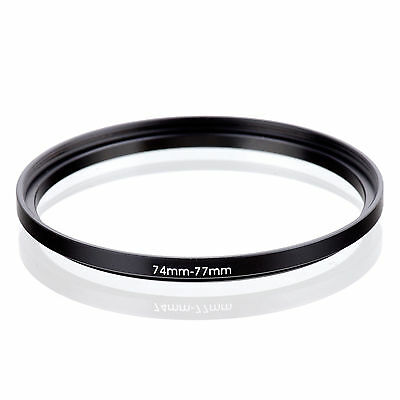Camera 74mm Lens to 77mm Accessory Step Up Adapter Ring 74mm-77mm Black