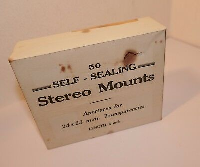 "Box of 50 CARDBOARD STEREO MOUNTS , 4"" WIDE for 24 - 23mm TRANSPARENCIES"