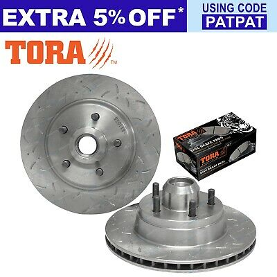 2 Front Disc Rotors Slotted + Dimpled Brake Pads ford Fairlane NC LTD DC 1991-94
