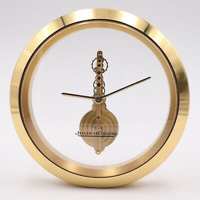 JAEGER LECOULTRE TABLE CLOCK 215.024 250 CALIBER 128mm GOLD PLATED VINTAGE RELOJ