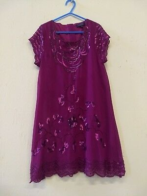 Ted Baker Girls Cerise Pink Sequin & Beaded Party Dress Age 10