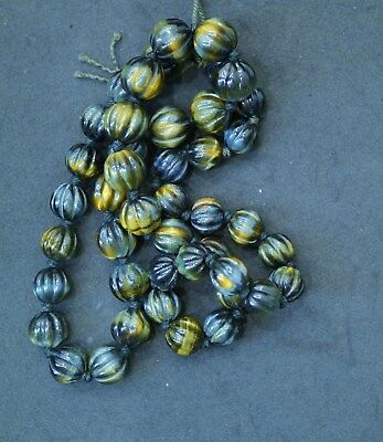 String Of 44 Very Fine Vintage Chinese Carved Black Tiger Eye Beads, 9Mm