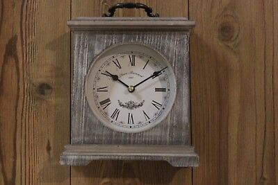 Shabby Chic Mantle/ Dressing Table Clock Grey Washed Wood