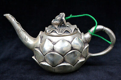 Chinese Collectible Old tibet Silver Exquisite frog lotus Relievo big Teapot