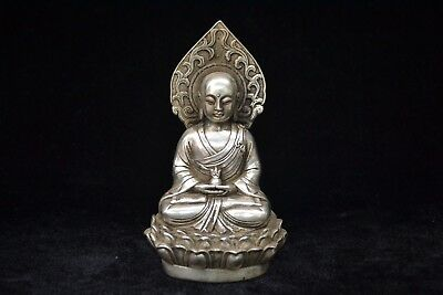 Ancient Chinese Old Tibet silver handwork Buddha sits lotus dharma noble Statue