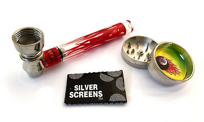 Glass Pipe Smoking Gift Set with 30mm Metal 2 Part Mini Grinder & Gauze Screens