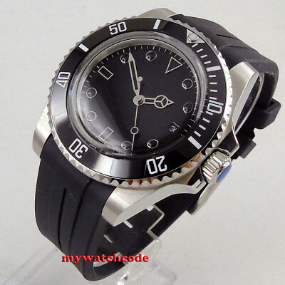40mm BLIGER black dial rubber strap date Ceramic Bezel automatic mens watch 171
