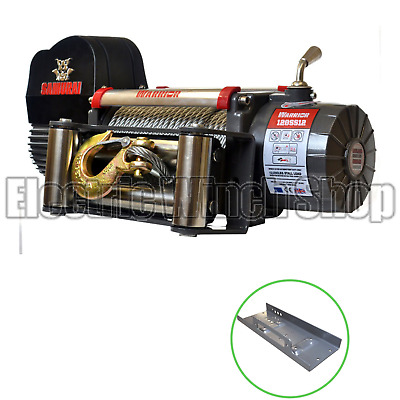 Warrior Samurai S12000 12v Winch with Mounting Plate