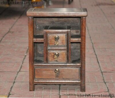 Old China Huanghuali wood Hand Carved Storage Cupboard Cabinet Furniture Statue