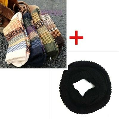 Mens Wool Cashmere Winter Soft Thick Warm Socks 4 Pairs& Mens Scarf Necklace