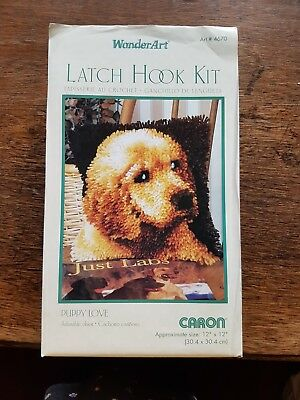 Caron WonderArt Latch Hook Kit Puppy Love Part Started Includes Hook