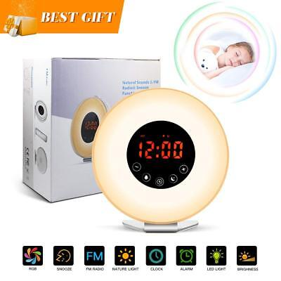 Wake Up Light Sunrise Alarm Clock with Sunrise/Sunset Simulation,Colorful LED Ni
