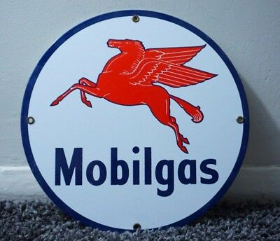 Vintage Mobilgas Porcelain Mobil Sign Gas Station Pump Plate Motor Oil Gasoline
