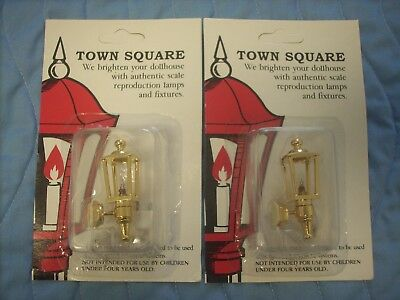 Two Miniature Dollhouse Coach House Lights By Town Square-12 Volt