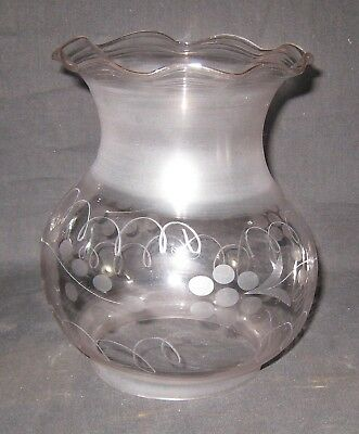 """Kerosene Oil 4"""" Fitter Oregon Style Wheel Frosted and Cut Lamp Shade"""