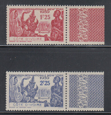 Ivory Coast 1939 NY Worlds Fair Sc 163-164 with label cplte mint never hinged