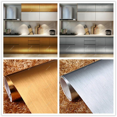Stainless Steel Effect Contact Paper Self Adhesive Vinyl Film Wallpaper Kitchen