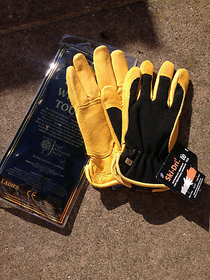 Womens Gold Leaf Winter Touch Gardening Gloves Brand New