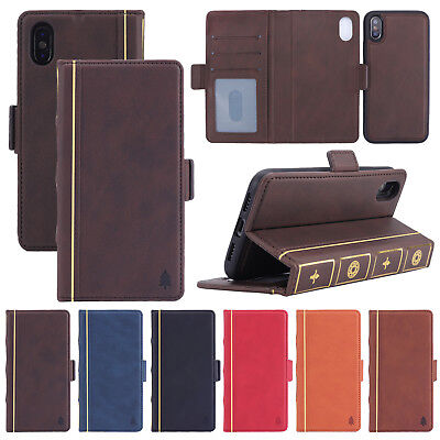 Man Vintage Retro Leather Case Magnetic Flip Card Wallet For iPhone 6s 7 8 XS XR