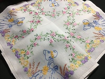 Beautiful Vintage Linen Hand Embroidered Tablecloth ~ Crinoline Lady/butterflies