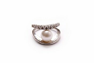 Absolutely Stunning Ladies Double Bond Silver Ring with Gemstones & Pearl (T293)