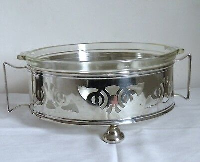 Vintage Silver Plated and Pyrex Glass Tureen Serving Dish Yeoman Plate