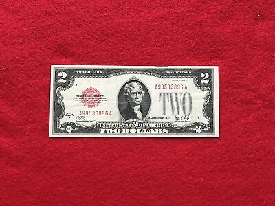 FR-1503 KEY 1928 B Series $2 Red Seal US Legal Tender Note A-A Block *Very Fine+