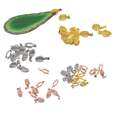 10x Gemstone Pendant Charms Pinch Bails Connector Clasps for Jewelry Making