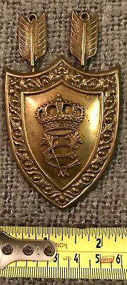 Rare Find Original Ornate Antique Brass Shield Crest Plaque C1860