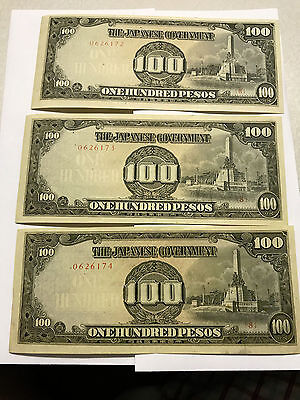 3- Consecutive Number Japanese Government 100 Pesos Occupation Notes AU #4803