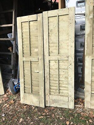 Vtg Pair 1800's Old  Wooden Window Shutters Architectural Salvage 55in x 17.5in