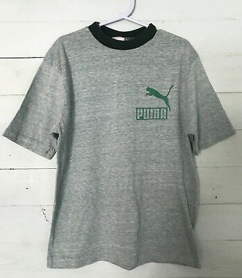 Vintage 1970's Puma Logo T-Shirt Youth SZ L 14-16 Green