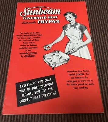 Sunbeam Controlled Heat Automatic Frypan Booklet 1953