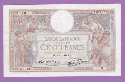 (Ref: X.100)  100 FRANCS LUC OLIVIER MERSON 3/11/1938 (SUP-)