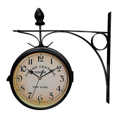 Antique Wall Mount Clock Garden Hallway Outdoor Station Double Side with Bracket