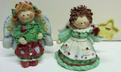 2 Angels ENESCO 'CUTE AS A BUTTON' Holding Star & Christmas Tree Buttons