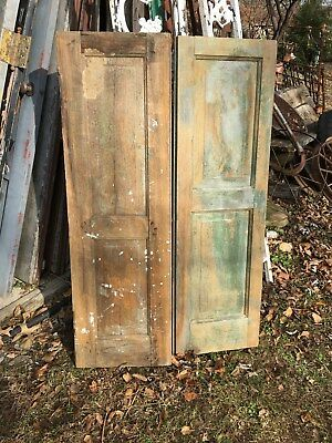 Vtg Pair 1800's Old  Wooden Window Shutters Architectural Salvage 47in x 14in