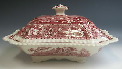 "Spode China TOWER PINK (OLD MARK) 11"" Rectangular Covered Vegetable EXCELLENT"