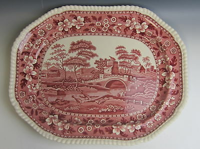 "Spode China TOWER PINK (OLD MARK) 17"" Oval Serving Platter EXCELLENT"