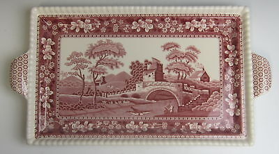 "Spode China TOWER PINK (NEW MARK) 13"" Large Sandwich Tray EXCELLENT"