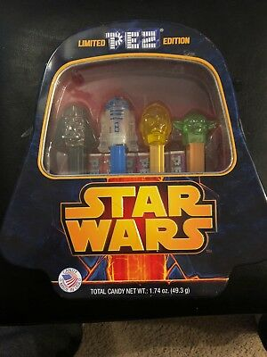 NEW Sealed PEZ Limited Edition STAR WARS Tin Case~Darth Vader R2D2 Yoda C3P0