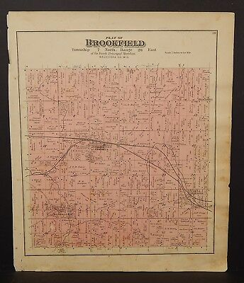 Wisconsin County of Waukesha Map New Berlin or Brookfield Township 1891 J23#03