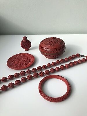 Vintage Chinese cinnabar lacquer box, Bangle, Necklace, Snuff Bottle.