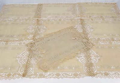 Set 10 ANTIQUE NEEDLE LACE LINEN PLACEMATS Embroidered Cutwork FANCY HAND MADE