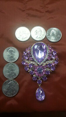 Purple and Pink Large Pin Brooch for Coat or Hat Cubic Zirconia