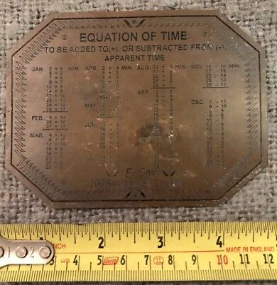 Very Rare Find Original Antique Engraved Brass Plaque Equation Of Time C1880
